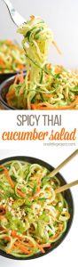 spicy Thai salad with cucumber noodles